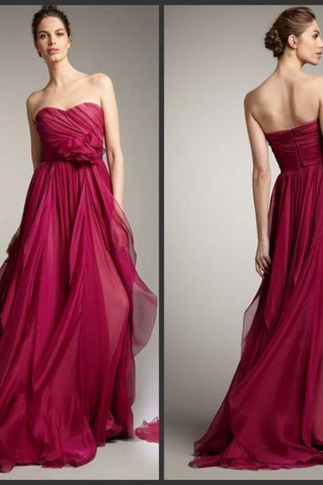 Full Length Sweetheart Empire Burgundy Bridesmaid Dress