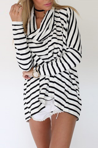 Fashion striped long-sleeved high-necked T-shirt #AD92601Y