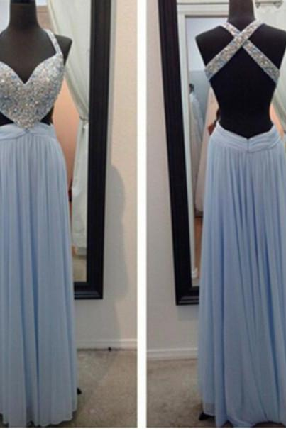 Custom Made 2017 Sexy Long Prom Dresses Women Evening Dresses Backless Prom Dress Blue Prom Dress