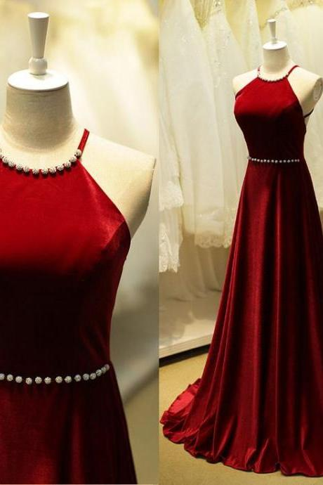 Charming High Quality Dark Red Halter Neckline Cross Back Prom Dresses ,Long Prom Dresses ,2016 Evening Gowns
