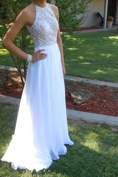 Pretty White Beadings Long Chiffon Open Back Halter New Style Prom Dress 2016 White Prom Dresses Evening Dresses Formal Gowns