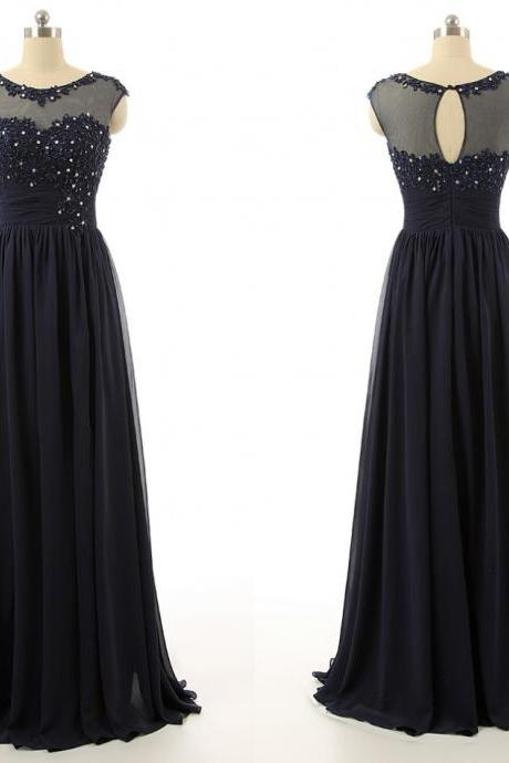 Pretty Handmade Navy Blue Applique Chiffon Prom Dress With Beadings Prom Dresses Long Prom Dresses Evening Dresses
