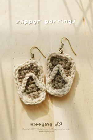 Slipper Earrings PATTERN, SYMBOL DIAGRAM (pdf) by kittying