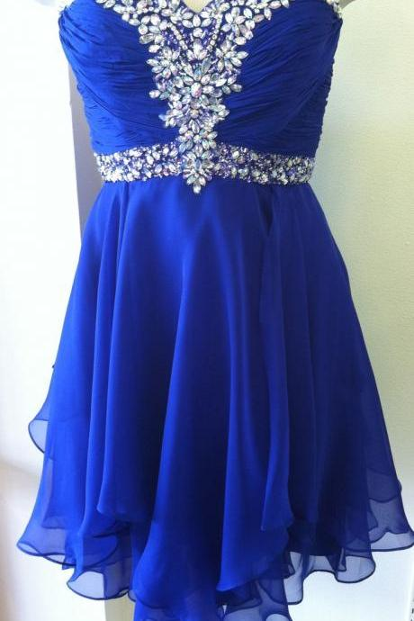 2015 new hot Cute Royal Blue Short Beadings Short Prom Dresses, Homecoming Dresses, Cute Homecoming Dresses, Graduation Dresses