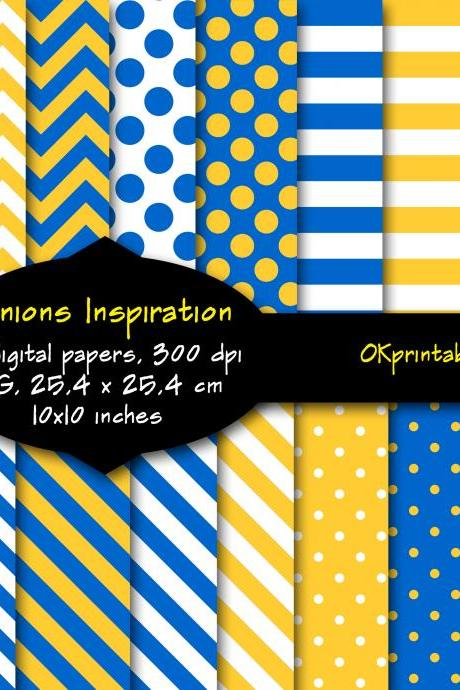 Minions Inspiration digital paper, Minions colors, Chevron, Stripes, polka dots, Digital Background, Scrapbook Paper, Printable Paper