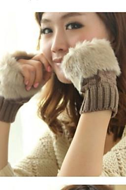 Lady Winter Warm Plaid Short Paragraph Wool Knitted Gloves for 2015 winter