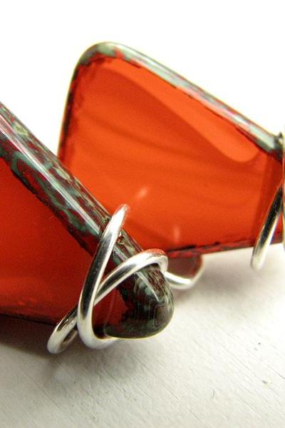 Orange Glass Earrings - Geometric Triangle Sterling Silver Earrings