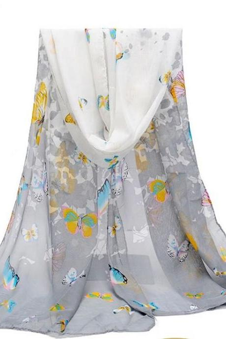 Butterfly autumn grey fashion colorful woman scarf