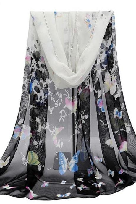 Butterfly autumn black fashion colorful woman scarf