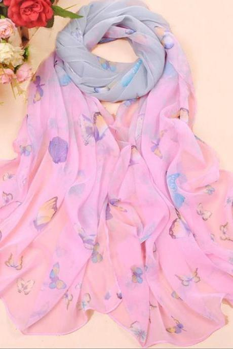 Butterfly autumn pink fashion colorful woman scarf