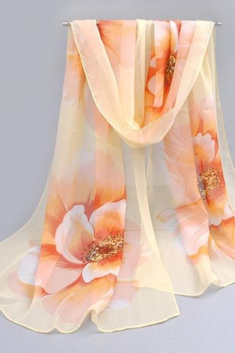 Flowers orange colorful spring autumn woman scarf