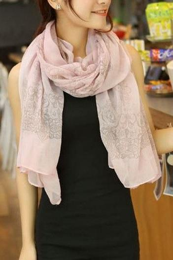 Elegant shawl pink fashion autumn woman scarf