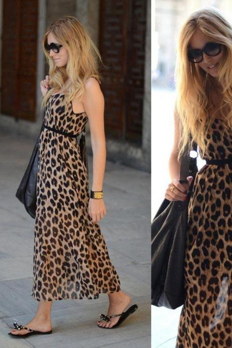Women Vintage Cocktail Sexy Maxi Evening Party Summer Leopard Chiffon Long Dress