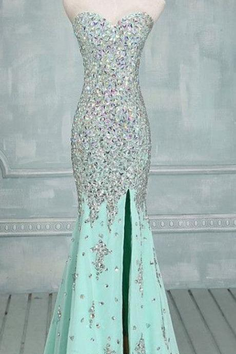 Blue Prom Dresses,Mermaid Evening Dresses,Side Slit Prom Gowns,Elegant Prom Dress With Beading Rhinestones