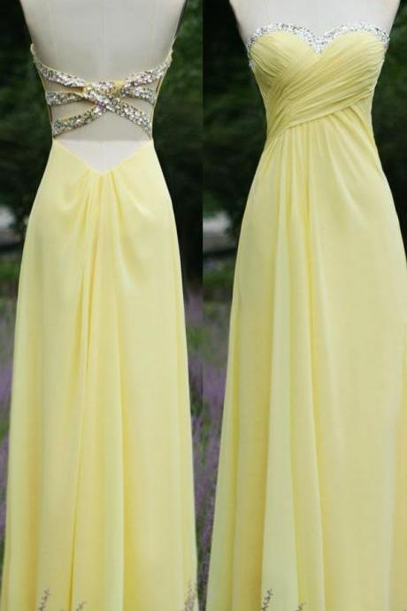 Prom Dresses,Backless Prom Gown,Open Back Evening Dress,Backless Prom Dress,Sequined Evening Gowns,Yellow Formal Dress