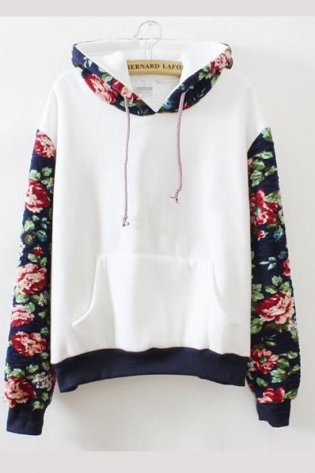 Harajuku retro solid color flowers sleeve hoodies