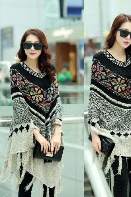 Fashion Knitting Sweater Coat Women Poncho Style Winter Top