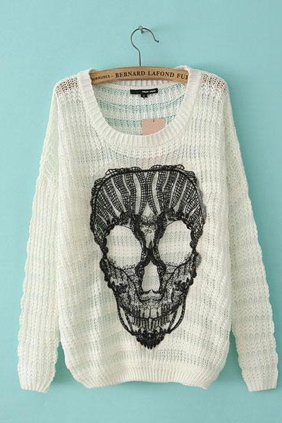 Skull Loose O-Neck Batwing Sleeve Mixed Color Sweater