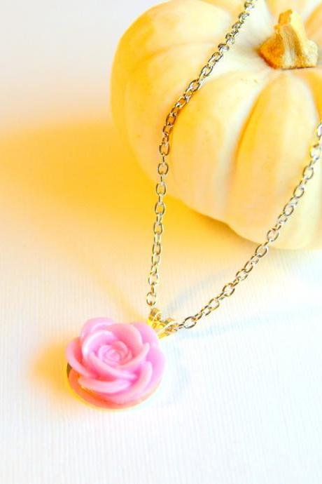 Pink Flower Cabochon Necklace - More Colors Available