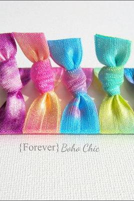 Elastic Hair Ties - Set of 5 - Forever Boho Chic Collection - Tie Dyed Hair Ties - Sweet Petites
