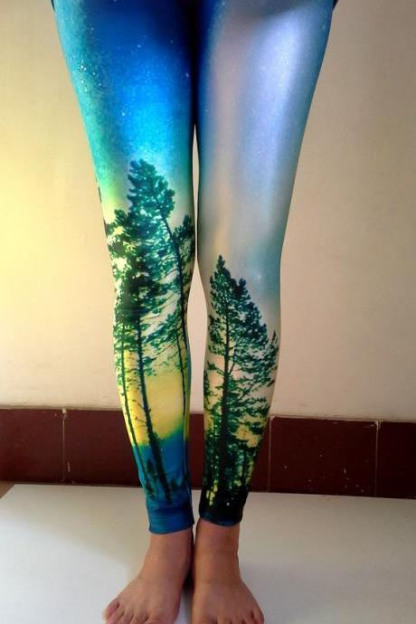 AURORA SUNSET LEGGINGS Printed Cool Leggings/ Sports pants/ Designed Leggings/ Women Stretch Leggings/ Yoga Tights / Yoga Leggings