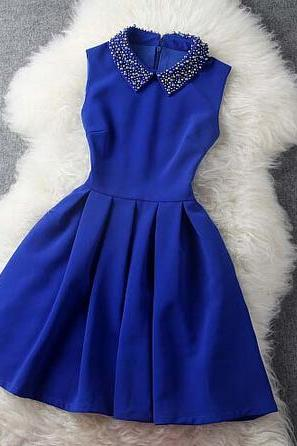 Fashion Blue Blue Dress With Collar, Women Blue Dress in Stock, Pretty Blue Dresses