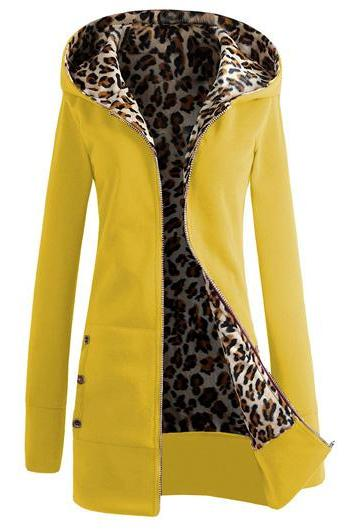Fashion Hooded Collar Button Decorated Sweat - Yellow