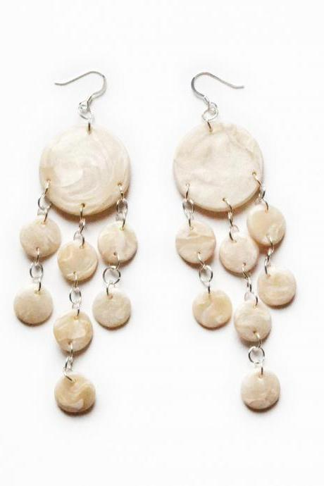 White pearl earrings in polymer clay, jellyfish shape