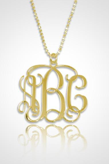 Monogram Necklace Personalized Monogram Necklace in 18kt Gold Plated Sterling Silver