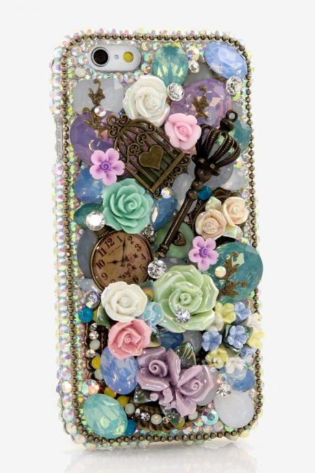 Bling Crystals Phone Case for iPhone 6 / 6s, iPhone 6 / 6s PLUS, iPhone 4, 5, 5S, 5C, Samsung Note 2, Note 3, Note 4, Galaxy S3, S4, S5, S6, S6 Edge, HTC ONE M9 (AB CRYSTALS VINTAGE DESIGN) By LuxAddiction