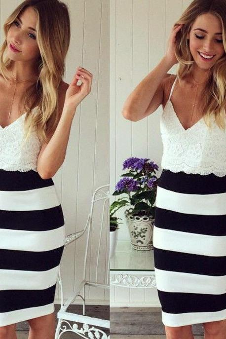 2015 Sexy Women Black White Sleeveless Lace Slim Mini Dress Cocktail Club Party