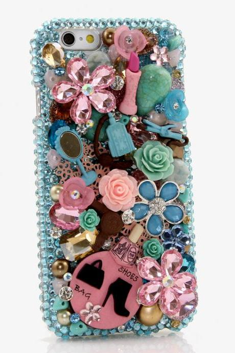 Bling Crystals Phone Case for iPhone 6 / 6s, iPhone 6 / 6s PLUS, iPhone 4, 5, 5S, 5C, Samsung Note 2, Note 3, Note 4, Galaxy S3, S4, S5, S6, S6 Edge, HTC ONE M9 (TURQUOISE AND PINK DESIGN) By LuxAddiction