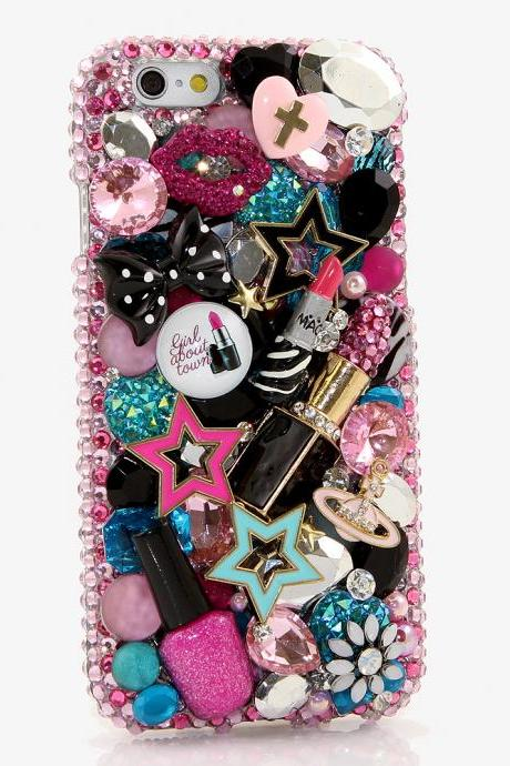 Bling Crystals Phone Case for iPhone 6 / 6s, iPhone 6 / 6s PLUS, iPhone 4, 5, 5S, 5C, Samsung Note 2, Note 3, Note 4, Galaxy S3, S4, S5, S6, S6 Edge, HTC ONE M9 (MAKEUP LOVER DESIGN) By LuxAddiction