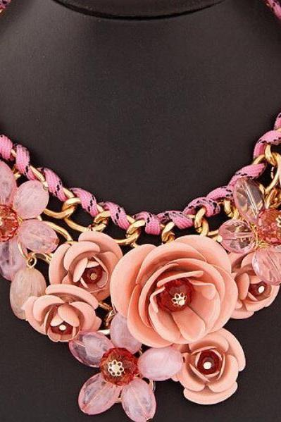 Peach Necklace Peach Color Choker Floral Fashion Necklace Statement