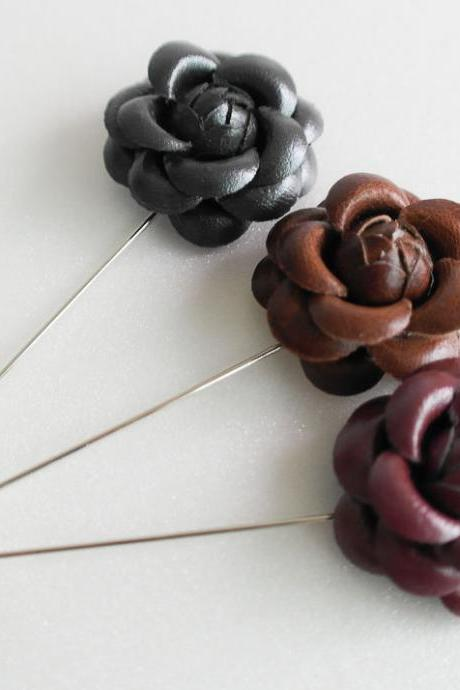 Leather Camellia Flower Boutonniere/Buttonhole For Wedding,Lapel Pin,Hat Pin,Tie Pin