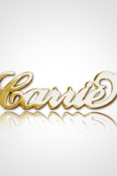 Personalized Name Necklace Carrie Style 18kt Gold Plated on Sterling Silver 925