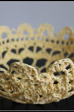 Lace Bowl Crochet Doily Basket Yellow