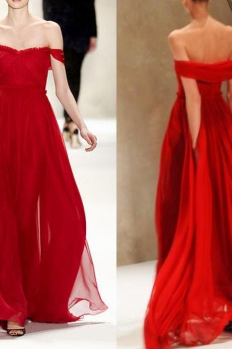 Sexy Off Shoulder Sleeves Red Prom Dress ,Chiffon Red Graduation Dress,Long Red Evening Dress