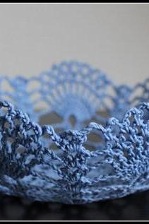 Doily Bowl Crochet Lace Basket Blue