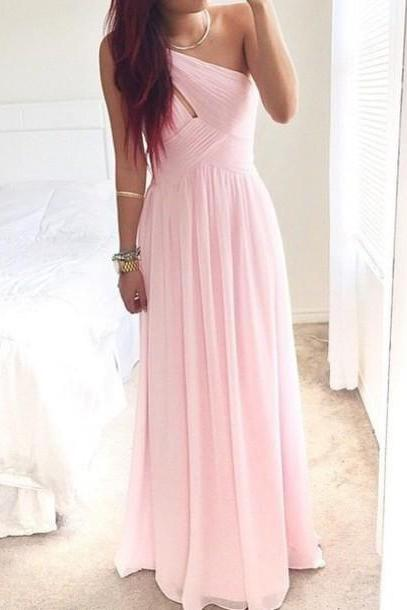 Sweetheart Pink One Shoulder Prom Dress,A Line Chiffon Prom Gowns 2015,Evening Dress Custom Made,Formal Party Dress,Graduation Dress On Sale,