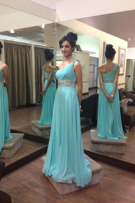 Floor Length One Shoulder Blue Prom Dress,Chiffon Occasion Dress