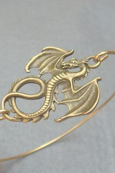 Brass Dragon Bangle Bracelet