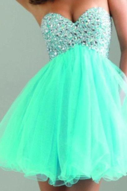 Sweatheart neck prom dress,homecoming dress,short prom dress,beautiful beading short dress L304
