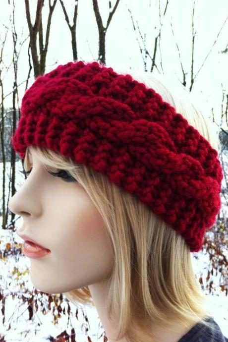 Chunky Cable Headband Earwarmer - Cranberry Red - MADE TO ORDER