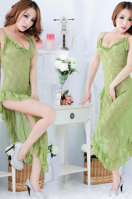 Green Women's Sexy V Neck Sleeping Dress Nightgowns Sleepwear