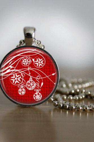 Christmas Necklace Christmas Jewelry Glass Tile Necklace Christmas Ornaments