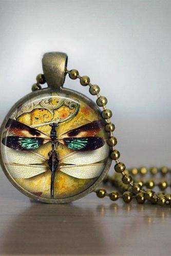 Glass Tile Necklace Steampunk Necklace Brass Jewelry Glass Tile Jewelry Dragonfly Necklace
