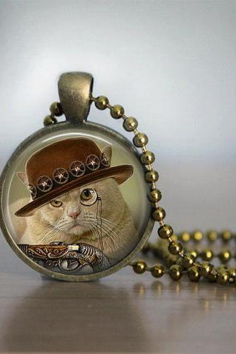 Glass Tile Necklace Cat Necklace Steampunk Necklace Brass Jewelry Glass