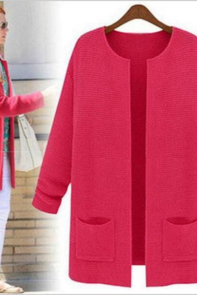 2015 Spring Autumn new women large size cardigans long-sleeved loose sweaters coats