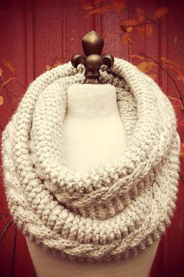 Chunky Infinity Scarf Loop Cowl - Wheat - MADE TO ORDER